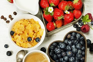 Breakfast with coffee, corn flakes,