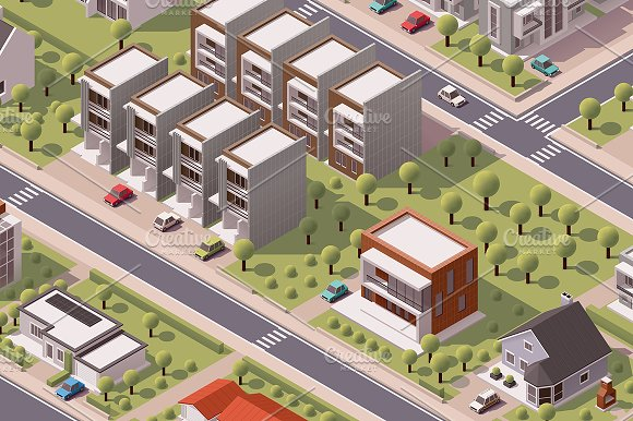 Isometric suburb map in Objects