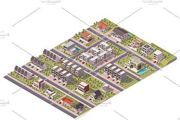 Isometric suburb map in Objects - product preview 1