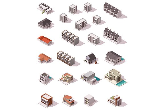 Isometric suburb map in Objects - product preview 2