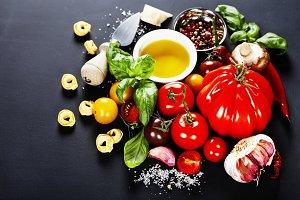 Italian ingredients - pasta, vegetab