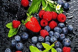 Fresh Berries on Dark  Background.