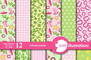 Cowgirl Digital Papers AMB-164