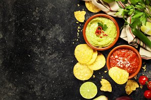Green Homemade Guacamole with Tortil