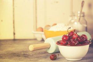 Mixed berries, baking ingredients an
