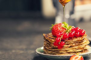 Homemade pancakes with fresh berries