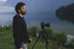 Photographer at work at lake Bohinj