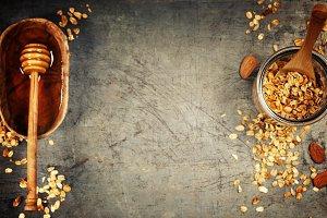 Healthy homemade granola and honey.