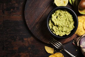 Mexican nachos chips with fresh guac