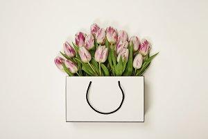 Tulips in shopping bag