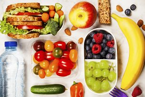 Healthy lunch box with sandwich and