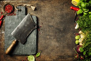 Vintage cutting board,meat cleaver a