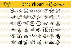 Honey 40 Bees Clip Art