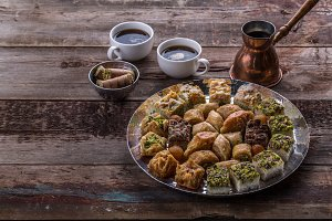 Traditional baklava and delights on