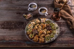 Turkish sweets baklava with coffe on
