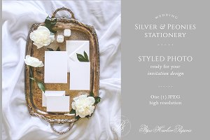 Silver & Peonies Styled Photo