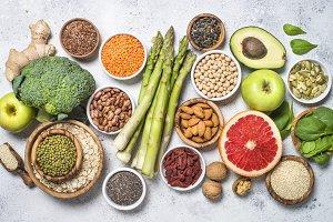 Superfoods, healthy food on light