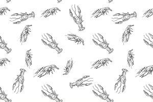 doodle lobster pattern