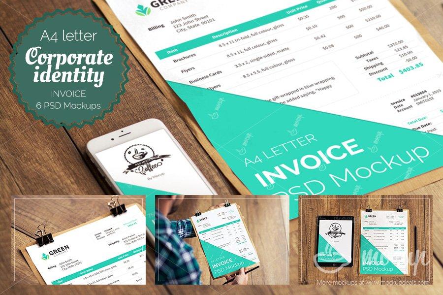 6 Psd Invoice Mockup Templates Product Mockups Creative Market