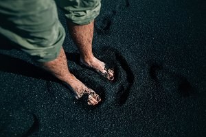 Traveler and explorer bare feet in