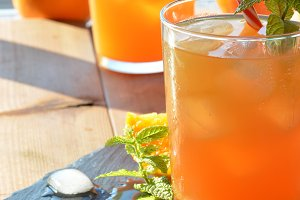 refreshing drink orange and mint