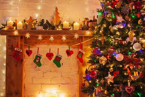 Christmas setting, lantern fireplace