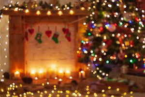Christmas setting, lantern fireplace