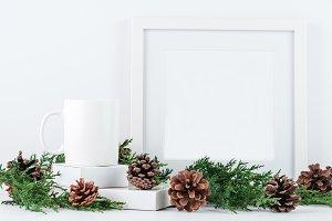 Christmas Mug and Frame Mockup
