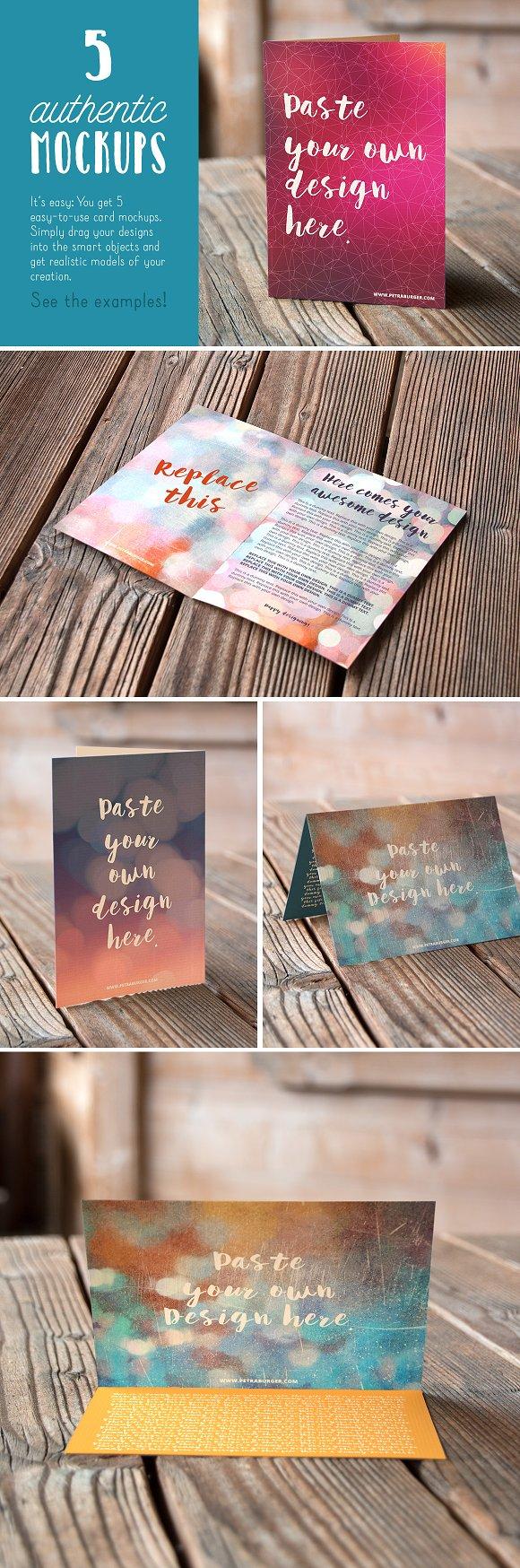 Authentic Greeting Card Mockups V01 Product Mockups Creative Market