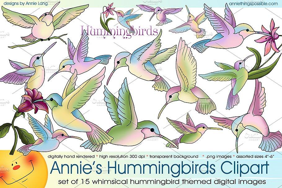 a4f966876d2a Hummingbirds Clipart Collection ~ Illustrations ~ Creative Market