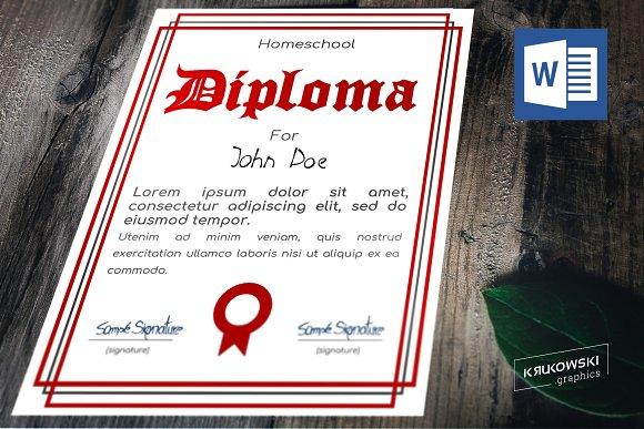 Homeschool Diploma Template Templates Creative Market