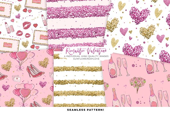 Valentine Digital Paper Pack in Illustrations - product preview 1