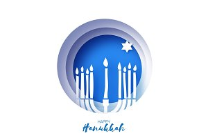 Origami Happy Hanukkah Greeting card