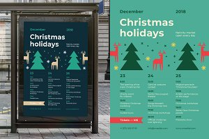 30% OFF, Christmas Schedule Poster