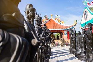 Asian chinese temple with wariors