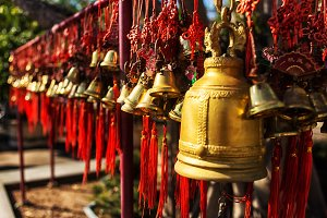 Golden bells in asian thai temple