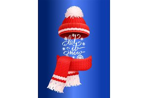 Let It Snow Lettering Red Knitted