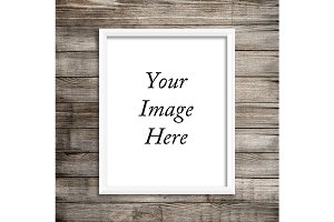 White Frame Mockup Wood Background