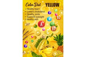Color detox diet, yellow day food