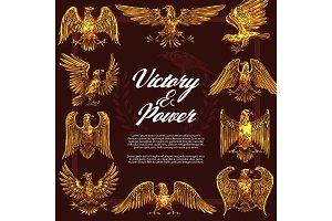 Gold eagles heraldic symbols, vector