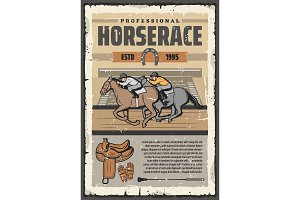 Horse racing sport, riders on track