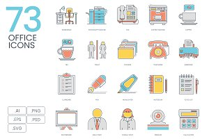 73 Office Color Line Icons