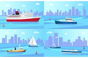 Seagoing Vessels near Coastline