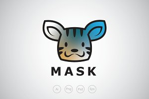 Cute Animal Mask Logo Template