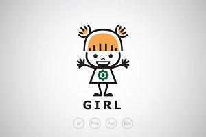 Cute Little Girl Logo Template