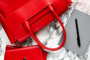 red leather bag and accessories