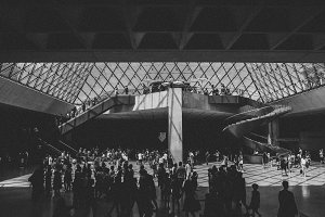 Louvre Pyramid Black and White