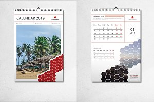InDesign Wall Calendar 2019 - V04