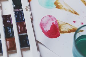Palette of watercolor paints