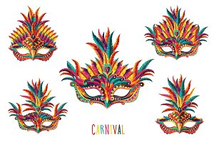 Carnival Masks vector set